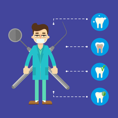 restoration: Dental banner with male dentist in blue medical uniform standing on blue background with instruments crosswise and round teeth icons. Dental treatment and hygiene. Tooth care and restoration. Illustration