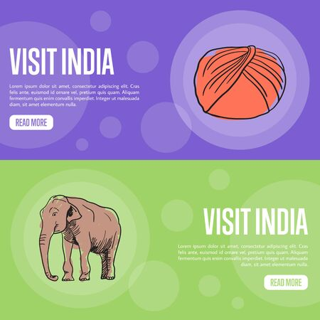 turban: Visit India horizontal banners. Sikh turban dastar and elephant hand drawn vector illustrations. Web templates with country related doodle symbols. For travel company landing page design