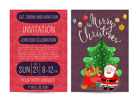 santa sack: Invitation on Christmas party with date and time. Cheerful Santa, sack of gifts, holly, christmas tree toys cartoon vectors. Merry Christmas and happy New Year greetings. Xmas holiday fun celebrating