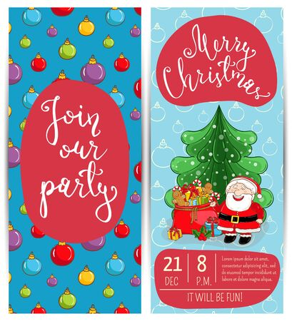 Invitation on christmas party with date time slogan cute santa invitation on christmas party with date time slogan cute santa wrapped gifts m4hsunfo