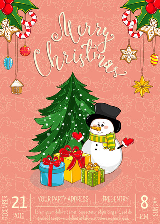 Christmas party promo poster with date and time. Snowman, gifts, christmas tree toys, holly, sweets cartoon vector on salmon background. Merry christmas, happy New Year greetings. Xmas celebrating