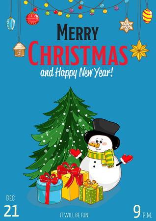 Christmas party promo poster with date and time. Cute snowman, gifts, christmas tree toys, garland cartoon vector on blue background. Merry christmas, Happy New Year greetings. Xmas celebrating Illustration