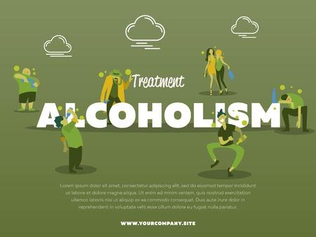 alcoholismo: El tratamiento del alcoholismo bandera con la ilustración vectorial alcohólico borracho. El abuso del alcohol, el alcoholismo en la familia, el hombre y la mujer con el concepto de botella de alcohol. Adicto a las personas con problemas de alcohol.