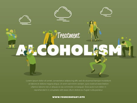 alcohol abuse: Treatment alcoholism banner with drunk alcoholic vector illustration. Alcohol abuse, alcoholism in family, man and woman with alcohol bottle concept. Addict people with alcohol problems.