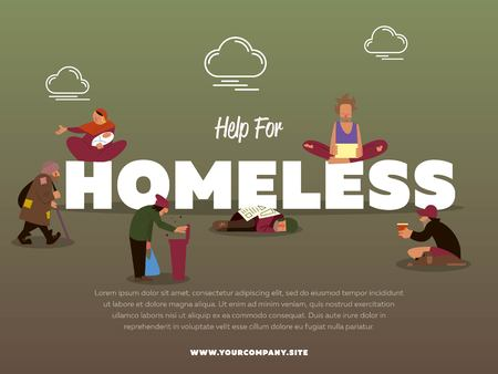 bum: Help for homeless banner with hungry beggar holding message banner and begs for money vector illustration. Homeless skinny saggy man in dirty old clothes character. Pauper and bum man. Illustration