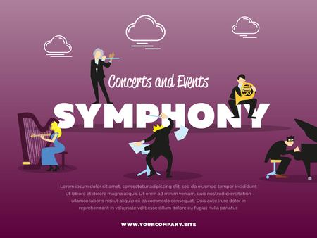 conductor: Concerts and events symphony orchestra banner vector illustration. Conductor, pianist, trumpeter, harpist characters with instruments. Conductor directing symphony orchestra with performers.