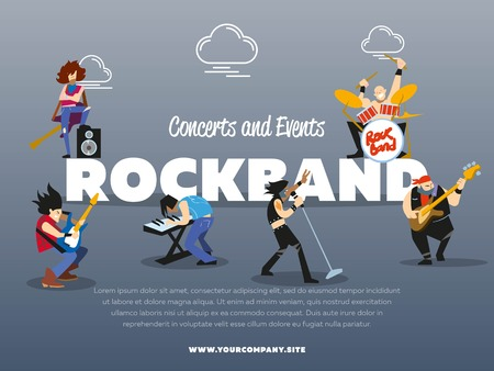 solo: Concerts and events rockband banner vector illustration. Singer, guitarist, drummer, solo guitarist, bassist, keyboardist characters performs on stage. Rock star. music group with musicians concept.