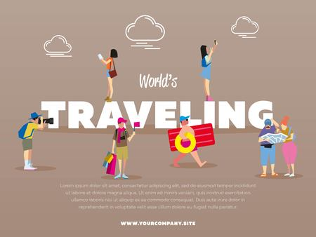 family hiking: World traveling banner with people vector illustration. Tourist with backpack. Family travelers, active recreation, hiking. Couple of journey. Girl making selfie. Trip and vacation. Man with camera Illustration