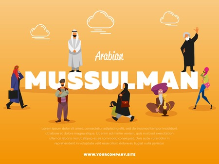 Arabian mussulman banner with people in national costume vector illustration. Islamic religious people. Man in white gown and woman in paranja. Muslim in traditional clothes doing different activities Vettoriali