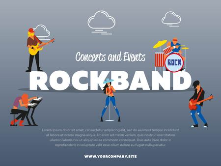 solo: Concert and events rockband banner vector illustration. Singer, guitarist, drummer, solo guitarist, bassist, keyboardist characters performs on stage. Rock star. music group with musicians concept. Illustration