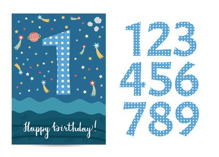 Plantilla de tarjeta de felicitación de dibujos animados de feliz cumpleaños con dígitos en tema espacial. Estrellas de colores, planeta saturno, vector asteriod sobre fondo azul. Invitación editable en fiesta de disfraces para niños Ilustración de vector
