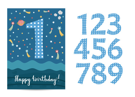 Happy birthday cartoon greeting card template with digits set on space theme. Colorful stars, saturn planet, asteriod vector on blue background. Editable invitation on childrens costumed party Illustration