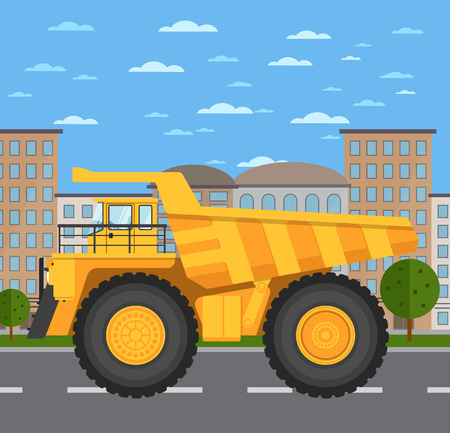 Big yellow mining truck on road in city vector illustration. Urban cityscape background with skyscrapers. Modern dump truck side view. Vehicle for cargo transportation. Mining industry Illustration