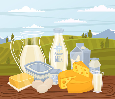 Farm products banner with dairy composition on wooden table and background of green rural landscape, vector illustration. Healthy nutritious concept with butter, eggs, milk, yoghurt, cheese, kefir Illustration