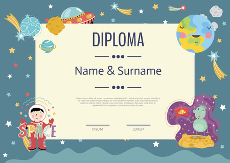 Diploma cartoon template. Spaceship, stars. planets, comets. For award for victory in scientific competition. Cartoon kids diploma template.