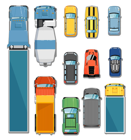 Cars and trucks top view set isolated vector illustration. Commercial freight truck, tipper, concrete mixer, city car, cabriolet, hatchback, sports car, muscle car, sedan, commercial van, suv in flat