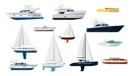 geïsoleerd motorboot en zeilboot zijaanzicht set vector illustratie. Schip, pleziervaartuigen, speedboot, schip, cruise schip, luxe jacht, motorboot, zeilvis in flat design. Marine overzees transport pictogrammen.