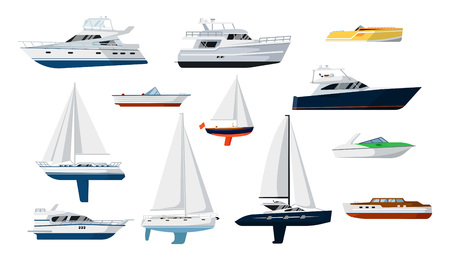 pleasure: Motorboat and sailboat side view set isolated vector illustration. Ship, pleasure boat, speedboat, vessel, cruise ship, luxury yacht, powerboat, sailfish in flat design. Marine sea transport icons.