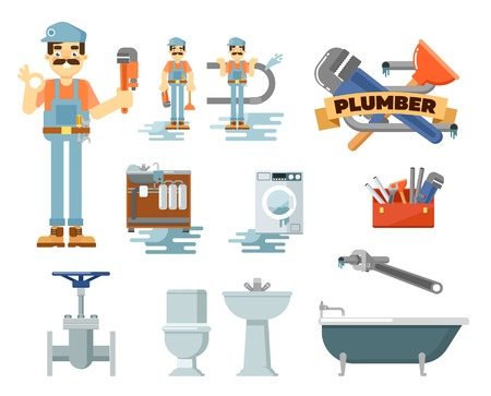 kitchen sink: Professional plumbing repair service isolated vector illustration. Plumber man in uniform with tools at work. Toilet, kitchen sink, bath, washing machine, water pipes, tap, adjustable wrench, plunger Illustration
