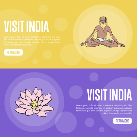 yogi: Visit India horizontal banners. Old yogi man and lotus flower hand drawn vector illustrations. Web templates with country related doodle symbols. For travel company landing page design Illustration