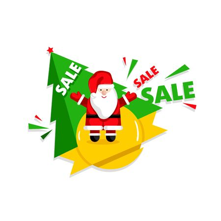 Christmas sale banner template with Santa Claus cartoon character and christmas tree vector illustration. Holiday discount, best price, winter sale, limited time offer, shopping concept in flat design Illustration