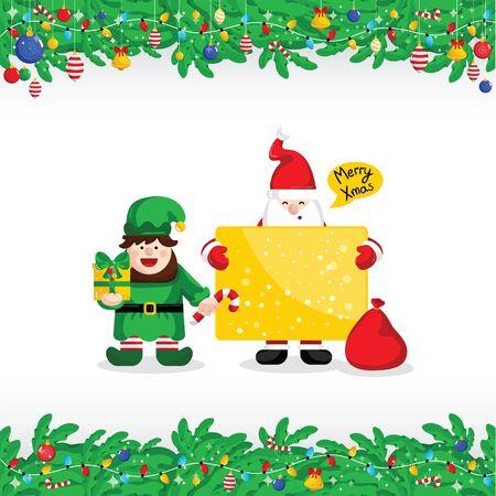 merry christmas greeting card with santa claus and christmas elf vector illustration santa with giftbox - Merry Christmas Elf