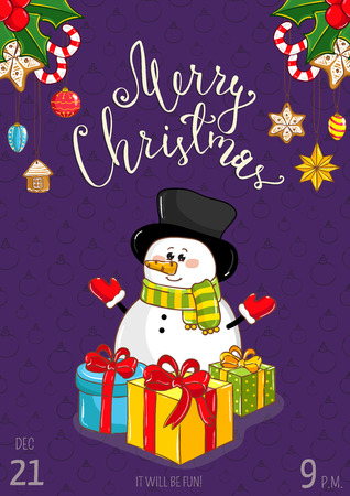 affiche: Christmas party promo poster with date and time. Cute snowman with wrapped gifts, holly, sweets, toys cartoon vector on violet background. Merry christmas, Happy New Year greetings. Xmas celebrating
