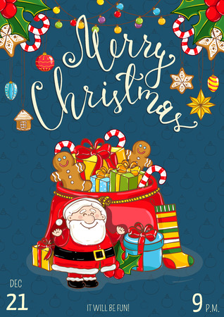santa sack: Christmas party promo poster with date and time. Cheerful Santa, sack of gifts, sweets, sock, holly, toys cartoon vector on blue background. Merry Christmas, Happy New Year greetings. Xmas celebrating Illustration
