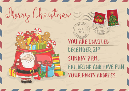 santa sack: Vintage Christmas Postcard with postal stamps. Santa, sack of gifts, sweets, sock, holly, toys cartoon vectors. Holiday party Invitation. Merry Christmas and Happy New Year greeting card. Xmas letter Illustration