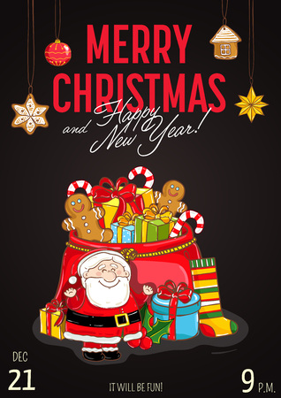 Christmas party promo poster with date and time. Santa, sack of gifts, sock, toys, gingerbread cookies cartoon vector on dark background. Merry Christmas, Happy New Year greetings. Xmas celebrating