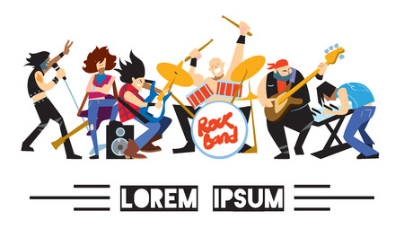 solo: Rock band, music group with musicians concept of artistic people vector illustration. Singer, guitarist, drummer, solo guitarist, bassist, keyboardist characters performs on stage. Rock star Illustration