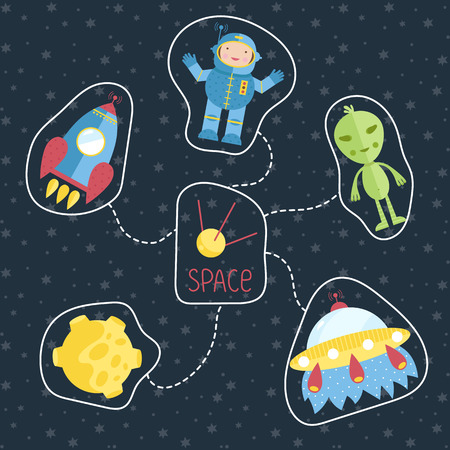Space concept in cartoon style. Spaceship, flying saucer, green alien, astronaut, Moon, satellite vector icons set isolated on starry background. Astronomic illustration for childrens book design Illusztráció