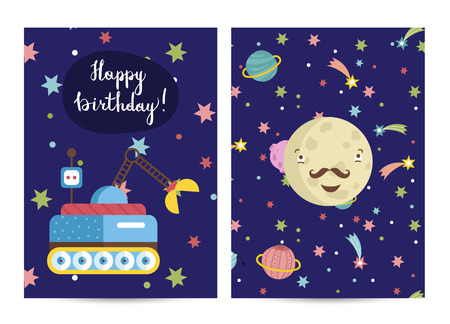 Happy birthday cartoon greeting card on space theme.  smiling mustached Mercury surrounded stars and planets vector illustration. Bright invitation on childrens costumed party Illustration