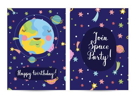 Happy birthday cartoon greeting card on space theme. Cute smiling Earth surrounded by stars, comets and planets on blue background vector illustration. Bright invitation on childrens costumed party Illustration