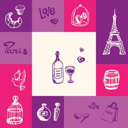 Paris checkered concept in romantic colors. Bottle of wine, Eiffel tower, dove and cage, bakery sweets, diamond ring, perfumes, shopping hand drawn vector icons. France related doodle symbols and text Illustration
