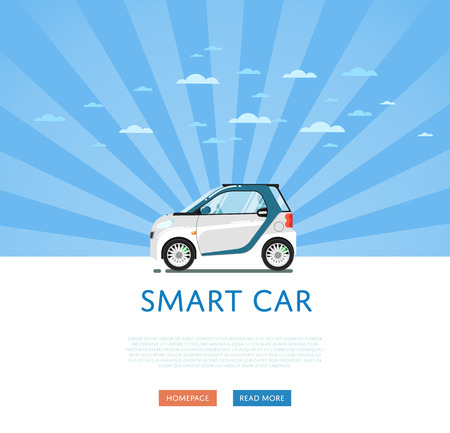 Compact white smart coupe vector illustration. Small compact city eco citycar. Side view of modern automobile on blue striped background. People transportations. Illustration