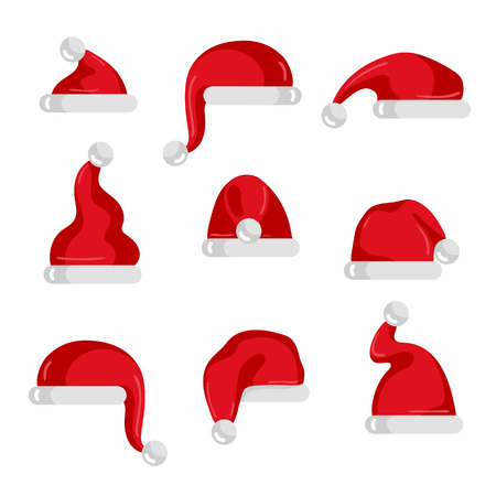Red Santa Claus hat collection. Christmas element isolated on white background vector illustration. Santa hat icons in flad design. Merry Christmas concept