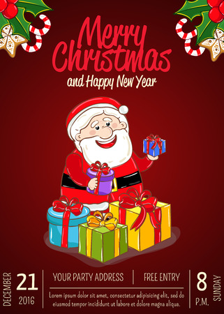 Christmas party promo poster with date and time. Cheerful Santa with wrapped gifts, holly, sweets cartoon vector on red background. Merry christmas, Happy New Year greetings. Xmas fun celebrating Illustration