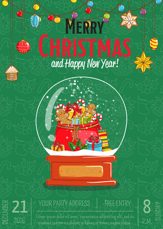Christmas party promo poster with date and time. Snow globe with sack of gifts, sweets, toy, sock, holly cartoon vector on green background. Merry Christmas, Happy New Year greetings. Xmas celebrating Illustration