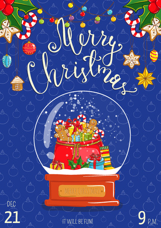 Christmas party promo poster with date and time. Snow globe with sack of gifts, sweets, toy, sock, holly cartoon vector on blue background. Merry Christmas, Happy New Year greetings. Xmas celebrating Illustration