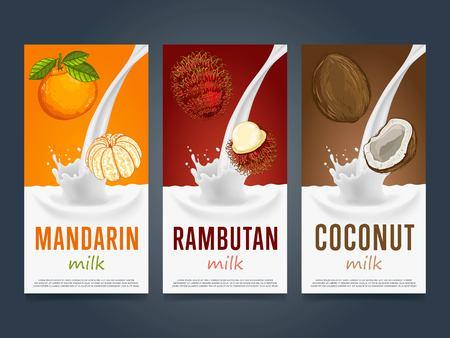 牛乳のスプラッシュとフルーツ ベクトル図とミルクセーキ概念。ミルクのデザート、ヨーグルト、フルーツ ミックス、カクテルを飲む、マンダリン