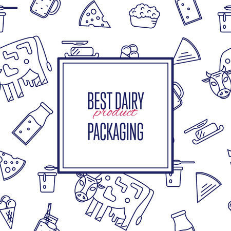 milk products: Best dairy product seamless pattern for packaging with different dairy icons in line style design, illustration. Organic farming background. Nutritious and healthy milk products. Natural food.