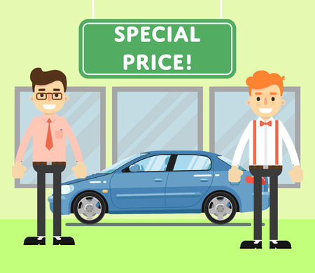 dealership: Special price for auto concept with blue comfortable sedan and car salesmen in showroom illustration. Auto dealership. Car sale design template in flat style. Sales occupation. Illustration