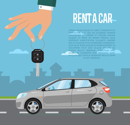 Rent a car concept with universal citycar and hand holding auto key  illustration. Urban cityscape background. Automobile rental business. Test drive. Selling, leasing or renting car service