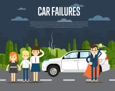 failures: Car failures concept with people standing near broken car on road illustration. Man in business suit and cape hero. Roadside assistance. Automobile repair service. Road accident. Illustration