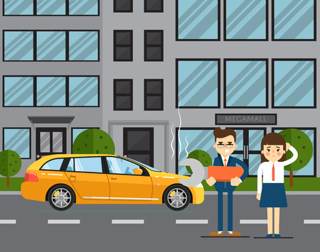 roadside assistance: Car troubles concept with people couple standing near broken car on road illustration. Concept for automobile repair service. Roadside assistance. Car repair. Urban cityscape background.