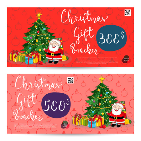 prepaid card: Christmas gift voucher template. Gift coupon with Xmas attributes and prepaid sum. Cute snowman, wrapped gifts, christmas tree toys cartoon . Merry Christmas and Happy New Year greeting card