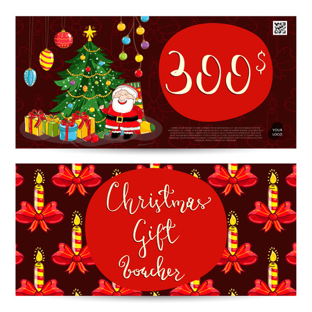 qrcode: Christmas gift voucher template. Gift coupon with Xmas attributes and prepaid sum. Santa, gifts, decorated toys christmas tree, candles cartoon . Merry Christmas and Happy New Year greeting card