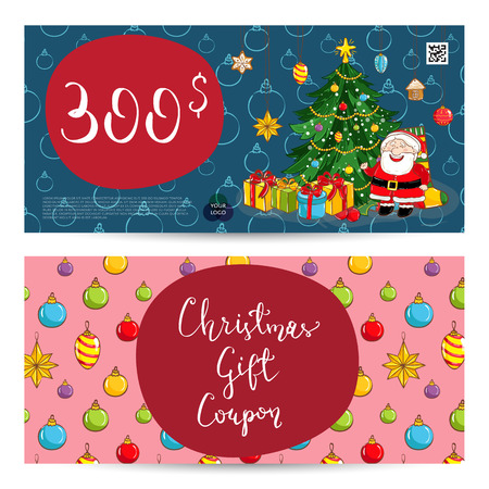 prepaid card: Christmas gift voucher template. Gift coupon with Xmas attributes and prepaid sum. Santa, wrapped gifts, decorated christmas tree, toys cartoon . Merry Christmas and Happy New Year greeting card Illustration