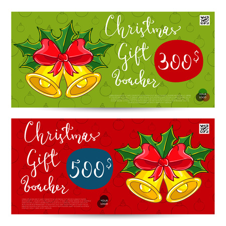 prepaid card: Christmas gift voucher template. Gift coupon with Xmas attributes and prepaid sum. Christmas bells with holly leaves and ribbon bow cartoon . Merry Christmas and Happy New Year greeting card
